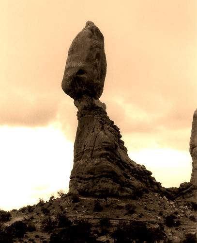 Balanced Rock Sepia - Arches National Park
