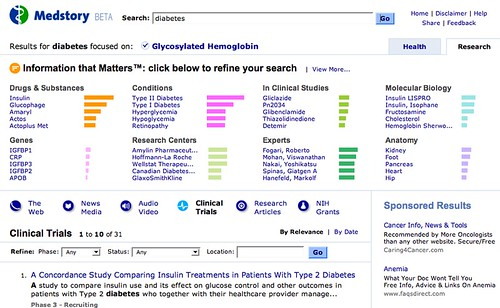Medstory: Research Tab: Clinical Trials