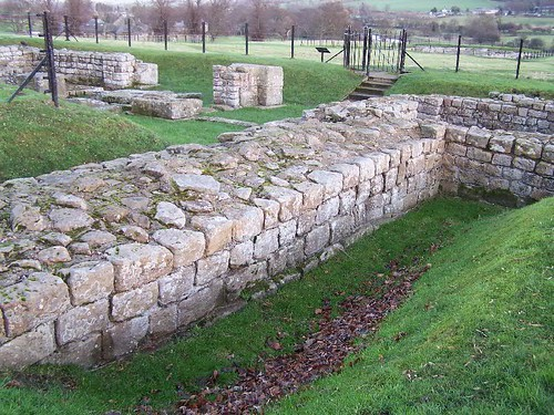 Hadrian's Wall at the junction with Chesters fort west wall