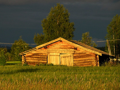 Old barn in sunset