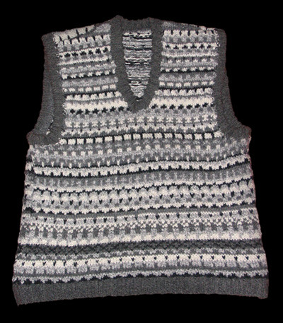 gray and white vest