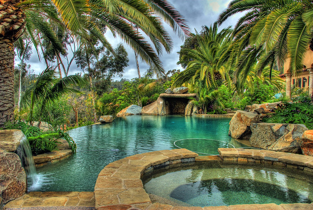 My Backyard Oasis, with TIKI Brand Fire Sculptures - Sugar ... on Dream Backyard With Pool id=31227