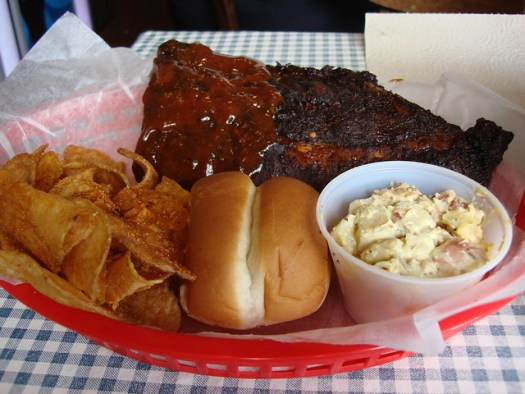 Wet & Dry Ribs, BBQ Chips, and 'Tata Salad, Central BBQ, Memphis TN