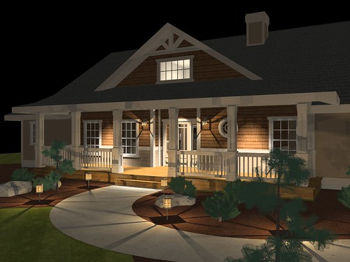 House Render - Porch - Night