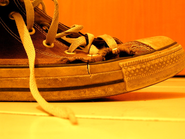 A well-used sneaker