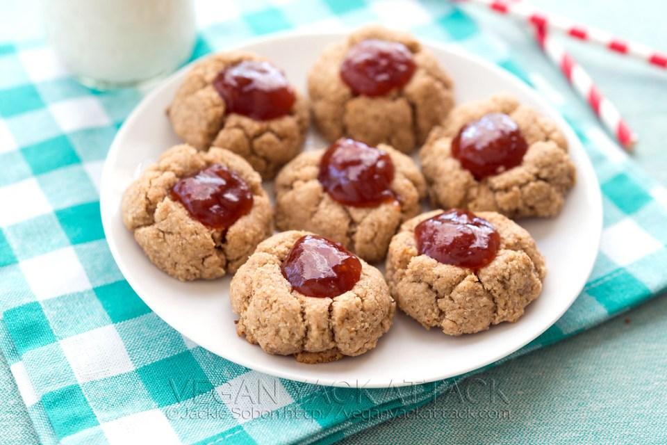 Vegan Gluten Free Almond Butter Jam Thumbprint Cookies