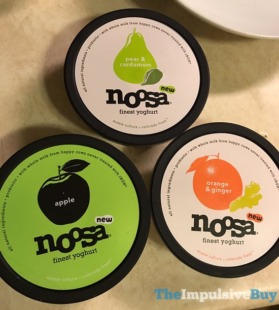 Noosa Yogurt (Pear & Cardamom, Apple, and Orange & Ginger)