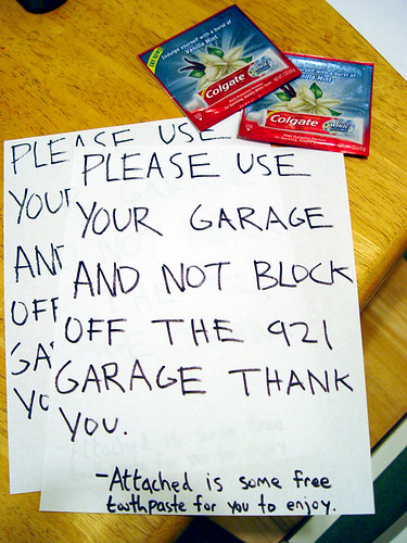 My neighbors can't park - so I made them this note.