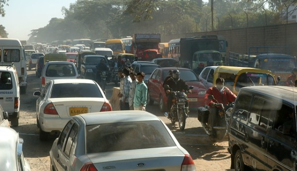 Traffic on Old Madras Road