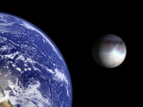 Earth and Triton to scale. by Bluedharma