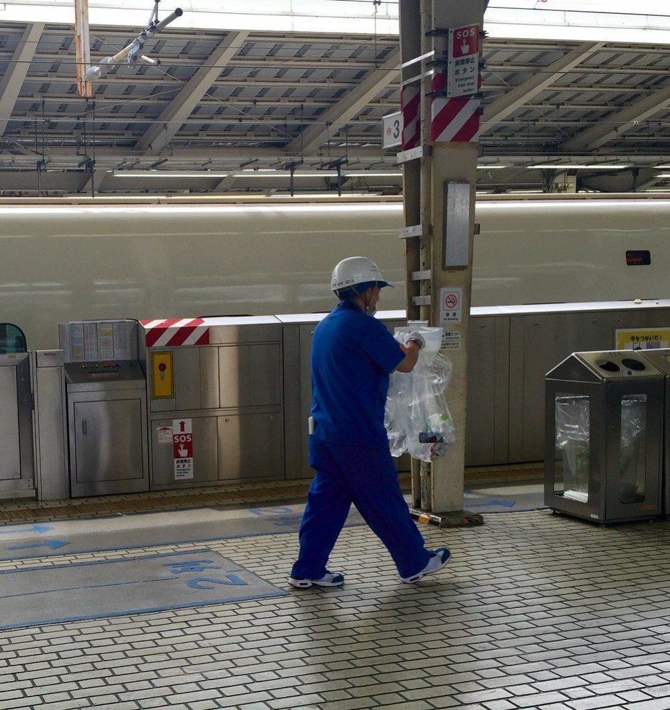 Bottles and garbage disposed for Shinkansen bullet train