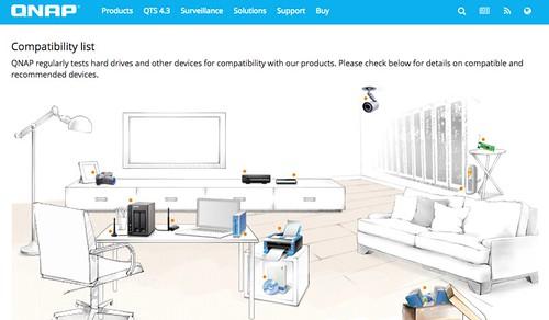 หน้าเว็บ Compatibility ของ QNAP