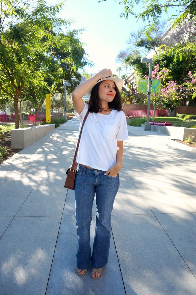 Everlane Box Cut Tee and Flared Jeans