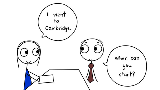 i went to cambridge, applying for jobs in the uk, visa status on CV
