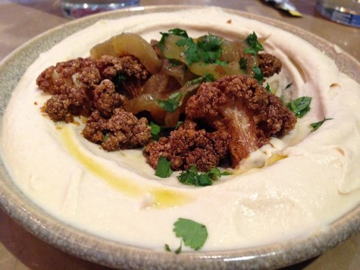Curried Fried Cauliflower Hummus at Shaya, New Orleans