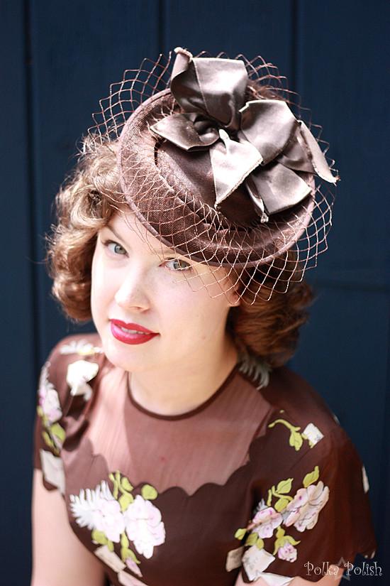 Summer 1940s tilt hat with novelty rayon dress