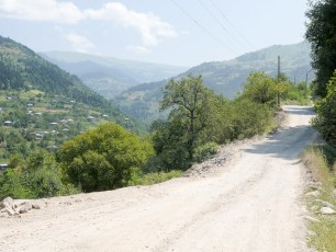 On the mountain road from Batumi to Tbilisi. A bit of a classic for cycle tourers, poor quality gravelly roads and big passes in stunning scenery.