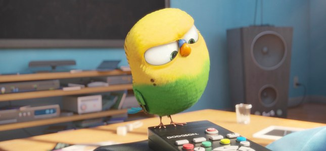 This budgie knows how to operate the remote control. (Credit: slashfilms.com)