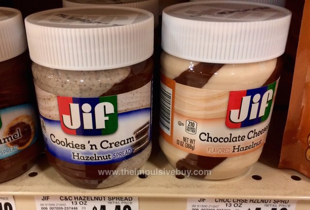 Jif Cookies 'n Cream and Chocolate Cheesecake Hazelnut Spreads