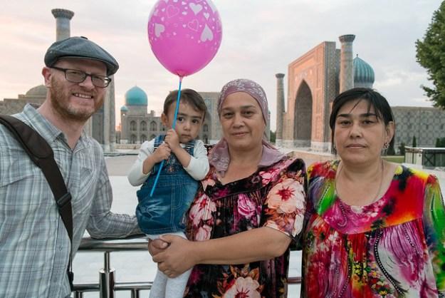 Uzbekistan travel: making friends at the Registan in Samarkand