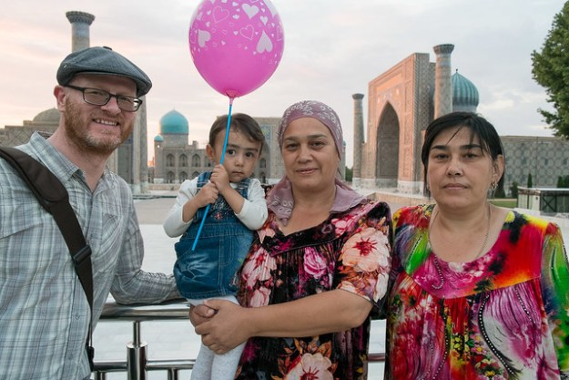 Uzbekistan travel: making friends at the Registan in Samarkand