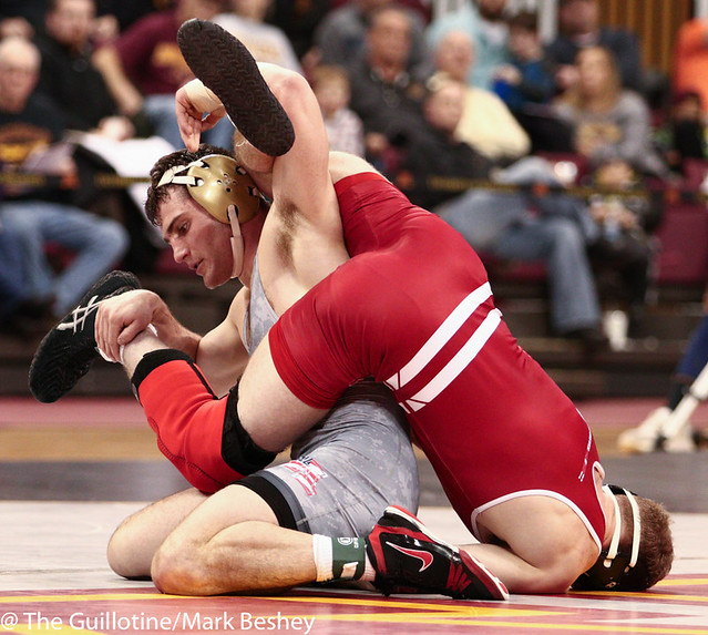 157: TJ Ruschell (Wisc) dec No. 9 Jake Short (Minn), 5-4 | Minn 15 - Wisc 12**