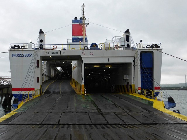 Stena Mersey - View of the vehicle deck entrance/stern door and lowered ramps.