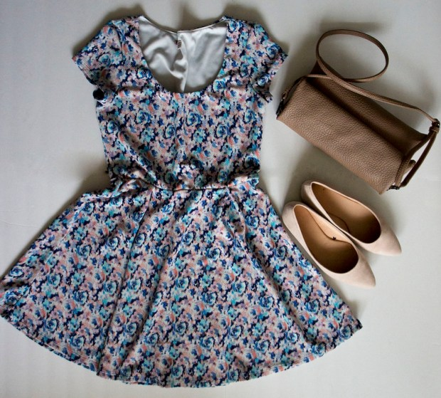 Fit and Flare Dress with Pointy Toed Flats Outfit