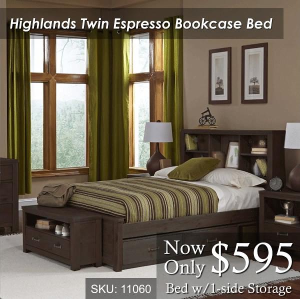 Highlands Twin Bookcase Espresso