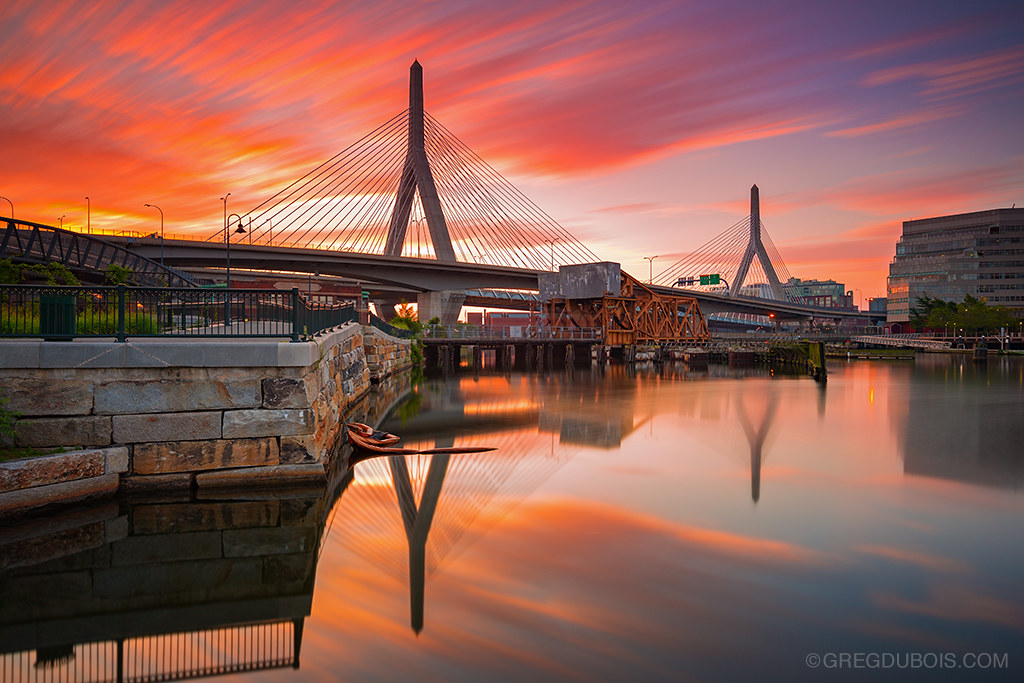 Zakim Bridge Boston Massachusetts Usa Fiery Sunrise Over