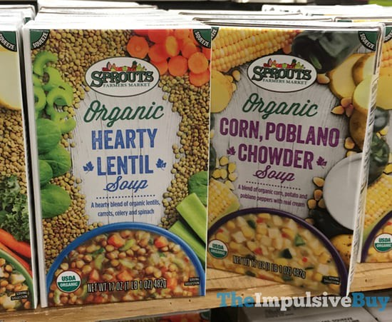 Sprouts Organic Soups (Hearty Lentil and Corn, Poblano Chowder)