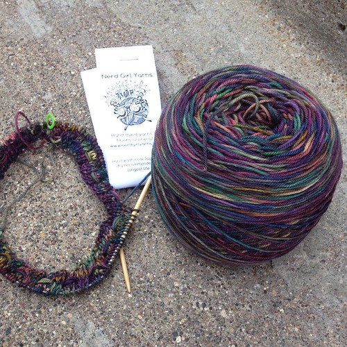 I shoulda snapped a photo before winding this skein! Oh, well -  looking forward to seeing it all knit up. #nerdgirlyarn purchased at @kelly_sadler1's new shop!