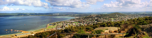 November 1992 - Panorama looking south-west across Albany & Princess Royal Harbour from the Mt Clarence lookout, Albany, Western Australia, Australia