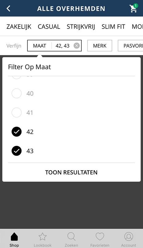 overhemd app filteren op maat
