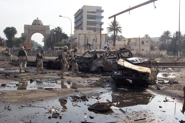 Aftermath of a car bomb