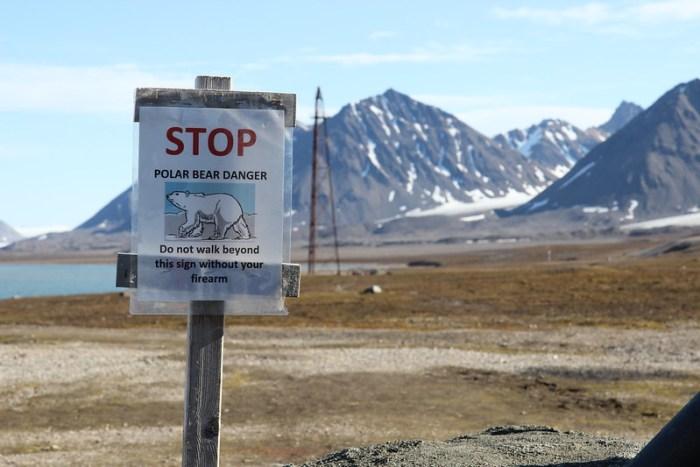 Ny Alesund Polar Bear sign, Svalbard, Arctic