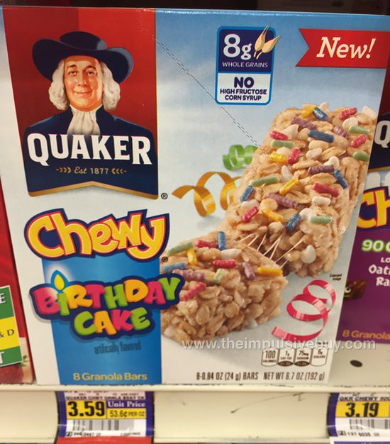 Quaker Birthday Cake Chewy Granola Bars