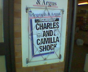 Local news paper headline - Charles and Camilla Shock