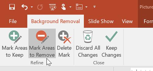 เลือก Mark Areas to Remove เพื่อเลือกแบ็กกราวด์ที่ต้องการลบ