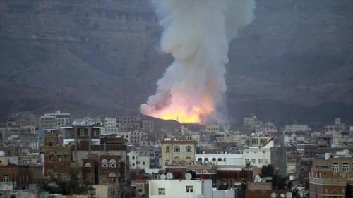 Imagen de un bombardeo sobre Yemen