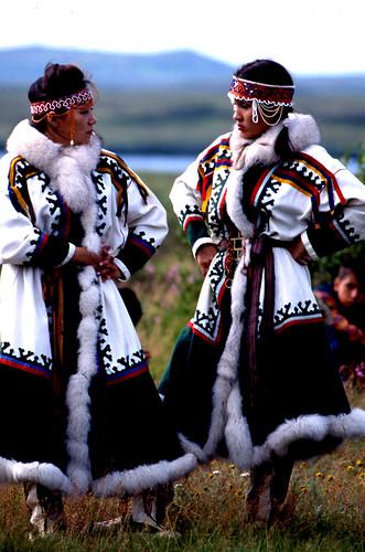 Nenets Women At Dancing Ceremony Pechora Delta Nenets
