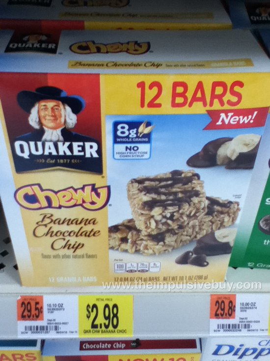 Quaker Banana Chocolate Chip Chewy Granola Bars