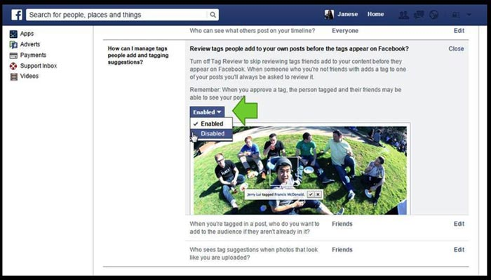 How to enable tag review on Facebook step 4