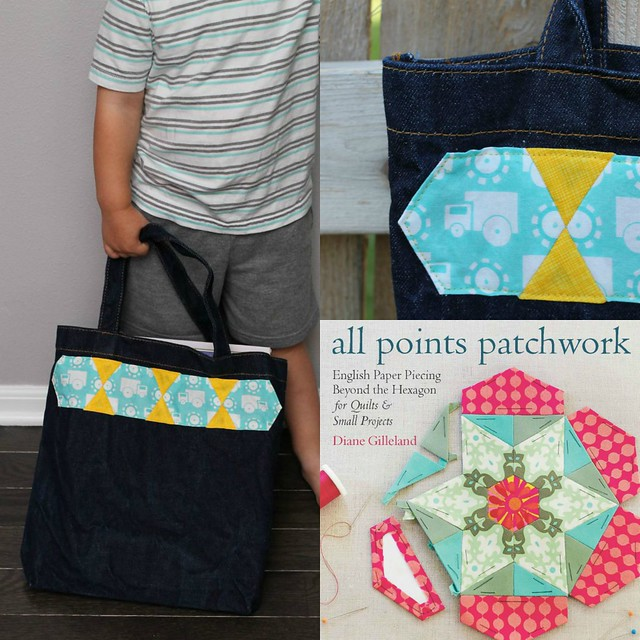English Paper Pieced Tote Bag Border All Points Patchwork Blog Hop Swoodson Says