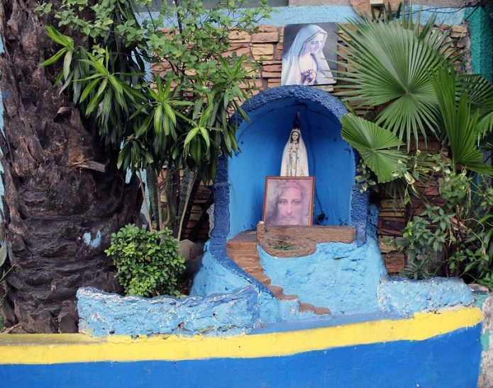 blue virgin mary grotto with pictures