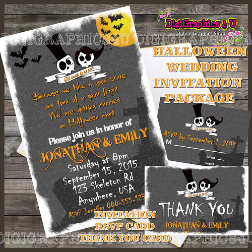 Personalized Halloween Wedding Package Printable Digital File includes Invitation, Thank You Card and RSVP Card