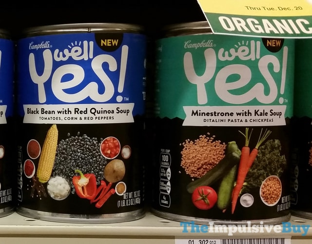 Campbell's Well Yes Black Bean with Red Quinoa Soup and Minestrone with Kale Soup
