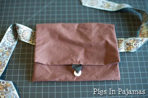 Hand sewn purse closed