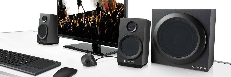 Het Logitech Z333 2.1 multimedia speakersysteem