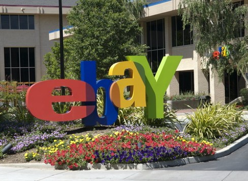 eBay logo in front of headquarters